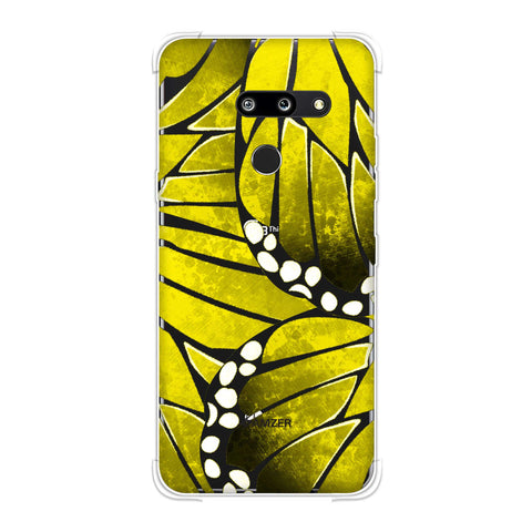 Butterfly - Mustard Ombre Bleached Fibre Wing Collage Soft Flex Tpu Case For LG G8 ThinQ