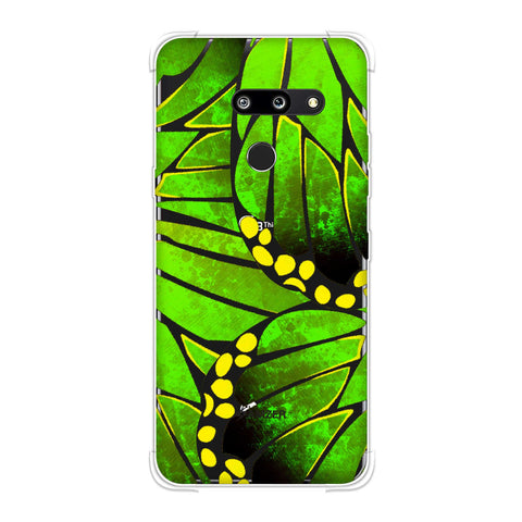 Butterfly - Green Ombre Bleached Fibre Wing Collage Soft Flex Tpu Case For LG G8 ThinQ