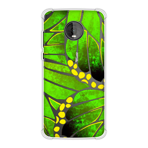 Butterfly - Green Ombre Bleached Fibre Wing Collage Soft Flex Tpu Case For Motorola Moto Z4