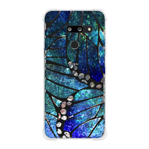 Butterfly - Silver Dust Bleached Fibre Wing Collage Soft Flex Tpu Case For LG G8 ThinQ
