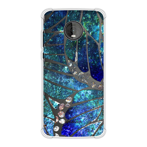 Butterfly - Silver Dust Bleached Fibre Wing Collage Soft Flex Tpu Case For Motorola Moto Z4