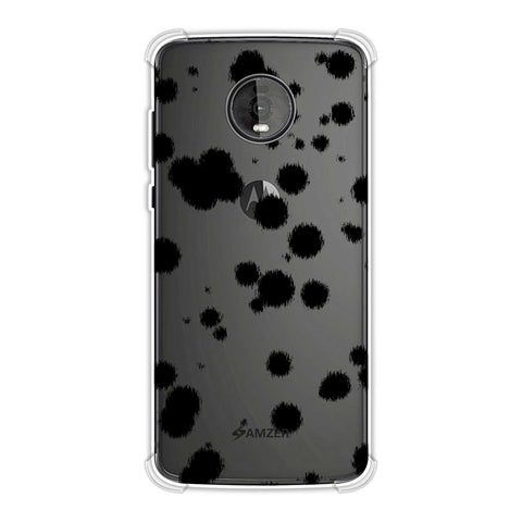 Dalmatian - Black Brushed Polka Spots On White Soft Flex Tpu Case For Motorola Moto Z4
