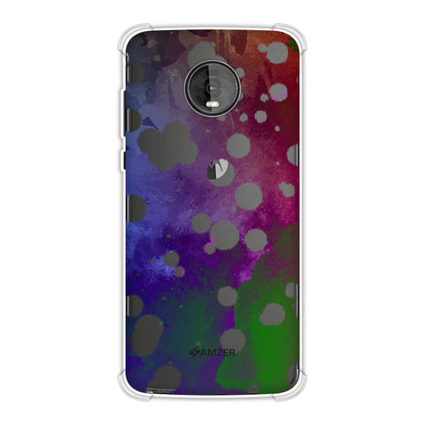 Dalmatian - White Brushed Polka Spots On Aquatic Watercolour Soft Flex Tpu Case For Motorola Moto Z4