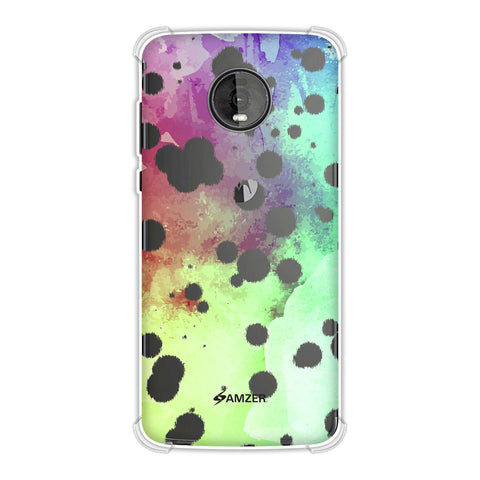 Dalmatian - White Brushed Polka Spots On Overexposed Watercolour Soft Flex Tpu Case For Motorola Moto Z4