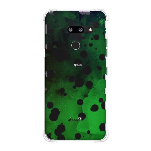 Dalmatian - White Brushed Polka Spots On Green Watercolour Soft Flex Tpu Case For LG G8 ThinQ
