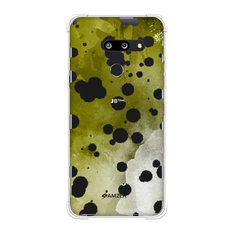 Dalmatian - White Brushed Polka Spots On Olive Watercolour Soft Flex Tpu Case For LG G8 ThinQ