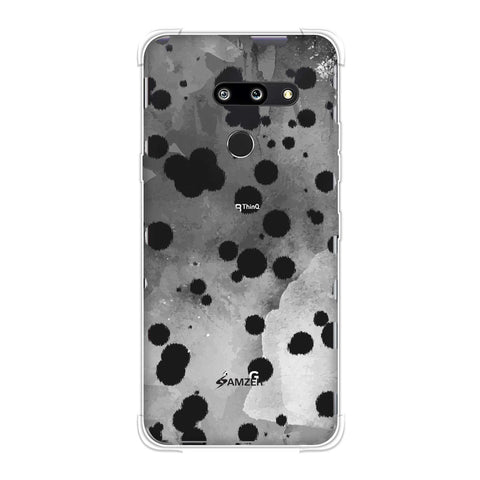 Dalmatian - Black Brushed Polka Spots On Grey Watercolour Soft Flex Tpu Case For LG G8 ThinQ