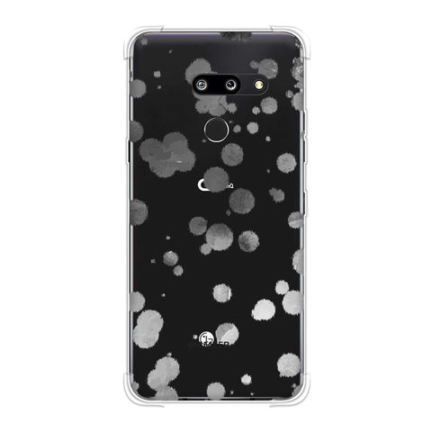 Dalmatian - Grey Brushed Polka Spots On White Soft Flex Tpu Case For LG G8 ThinQ
