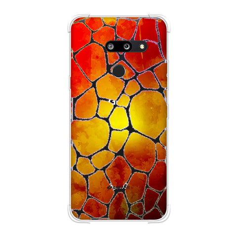 Giraffe - White Brushed Scales With Organic Burnt Watercolour Soft Flex Tpu Case For LG G8 ThinQ