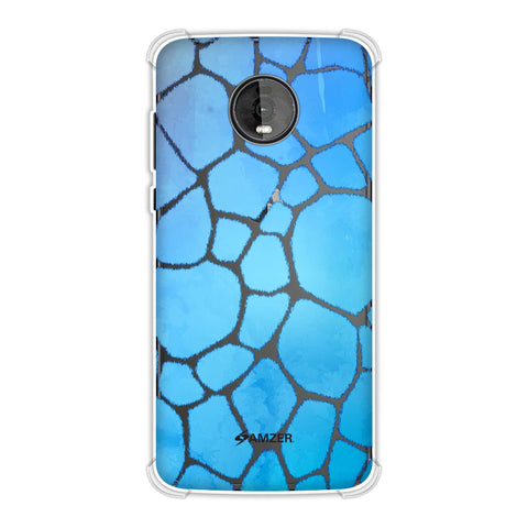 Giraffe - Blue Brushed Scales With Aqua Watercolour Soft Flex Tpu Case For Motorola Moto Z4