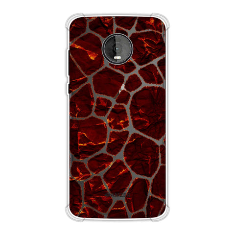 Giraffe - Burnt Brushed Scales With Rust Maroon Crushed Paper Effect Soft Flex Tpu Case For Motorola Moto Z4