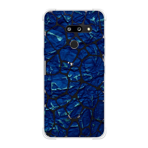 Giraffe - Black Brushed Scales With Blue Crushed Paper Effect Soft Flex Tpu Case For LG G8 ThinQ