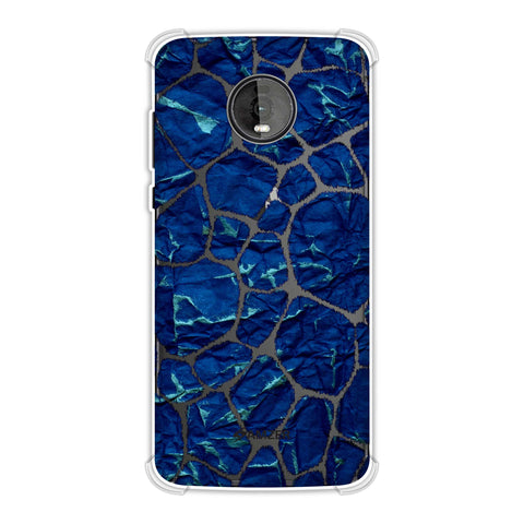 Giraffe - Black Brushed Scales With Blue Crushed Paper Effect Soft Flex Tpu Case For Motorola Moto Z4
