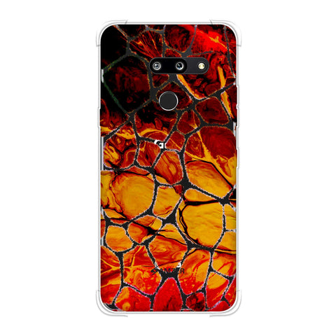 Giraffe - White Brushed Scales With Organic Marble Finish Effect Soft Flex Tpu Case For LG G8 ThinQ