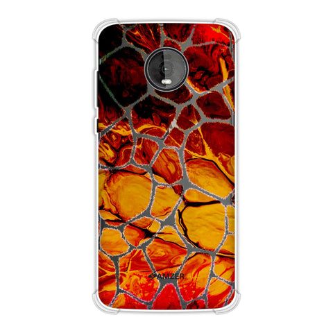 Giraffe - White Brushed Scales With Organic Marble Finish Effect Soft Flex Tpu Case For Motorola Moto Z4