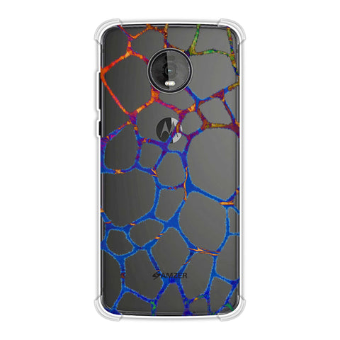Giraffe - Brushed Scales With Aquatic Marble Finish Effect Soft Flex Tpu Case For Motorola Moto Z4