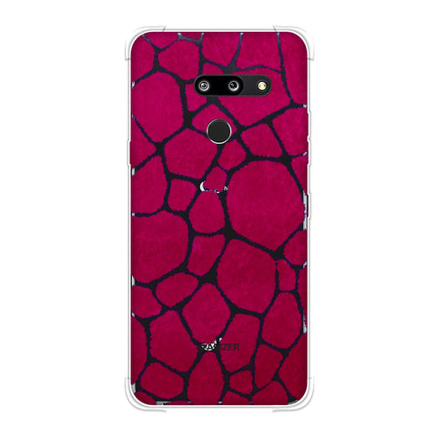 Giraffe - Blue Brushed Scales With Pink Scratched Effect Soft Flex Tpu Case For LG G8 ThinQ