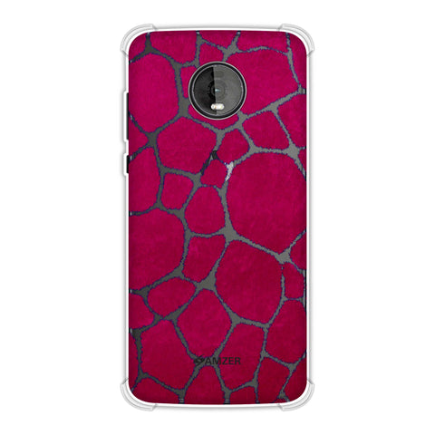 Giraffe - Blue Brushed Scales With Pink Scratched Effect Soft Flex Tpu Case For Motorola Moto Z4