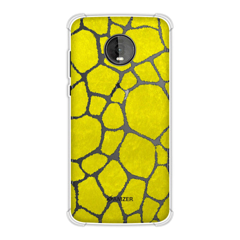 Giraffe - Blue Brushed Scales With Yellow Scratched Effect Soft Flex Tpu Case For Motorola Moto Z4