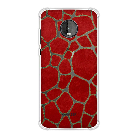 Giraffe - Light Green Brushed Scales With Red Scratched Effect Soft Flex Tpu Case For Motorola Moto Z4