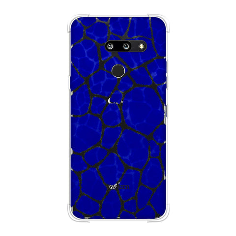 Giraffe - Yellow Brushed Scales On Blue Pattern Overlap Soft Flex Tpu Case For LG G8 ThinQ