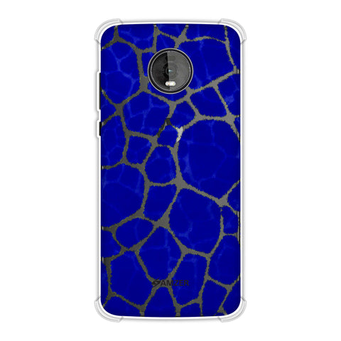 Giraffe - Yellow Brushed Scales On Blue Pattern Overlap Soft Flex Tpu Case For Motorola Moto Z4