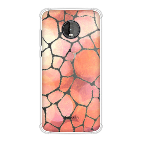 Giraffe - White Brushed Scales With Peach Spotlight Backdrop Soft Flex Tpu Case For Motorola Moto Z4
