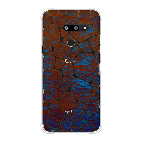Giraffe - Orange Brushed Scales With Electric Blue Crushed Paper Effect Soft Flex Tpu Case For LG G8 ThinQ