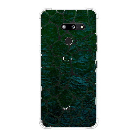 Giraffe - Green Brushed Scales With Bottle Green Crushed Paper Effect Soft Flex Tpu Case For LG G8 ThinQ