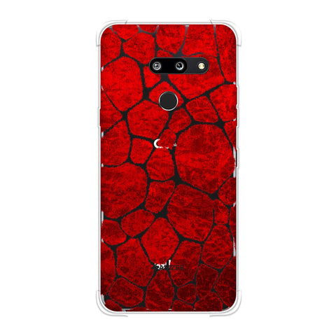 Giraffe - Red Brushed Scales With Sharp Crimson Crushed Paper Effect Soft Flex Tpu Case For LG G8 ThinQ