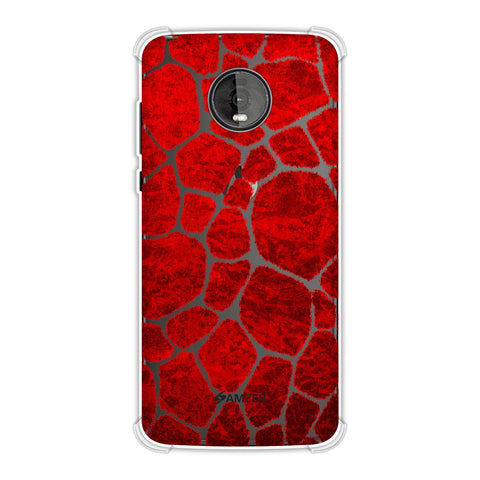 Giraffe - Red Brushed Scales With Sharp Crimson Crushed Paper Effect Soft Flex Tpu Case For Motorola Moto Z4