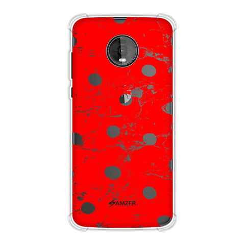Lady Bug - Red And Black Grunged Dots Soft Flex Tpu Case For Motorola Moto Z4