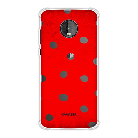Lady Bug - Black Dots On Red Bleached Base Soft Flex Tpu Case For Motorola Moto Z4