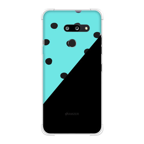 Lady Bug - Blue And White Dots With Diagonal Seperation Soft Flex Tpu Case For LG G8 ThinQ