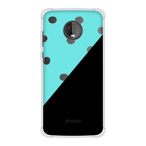 Lady Bug - Blue And White Dots With Diagonal Seperation Soft Flex Tpu Case For Motorola Moto Z4