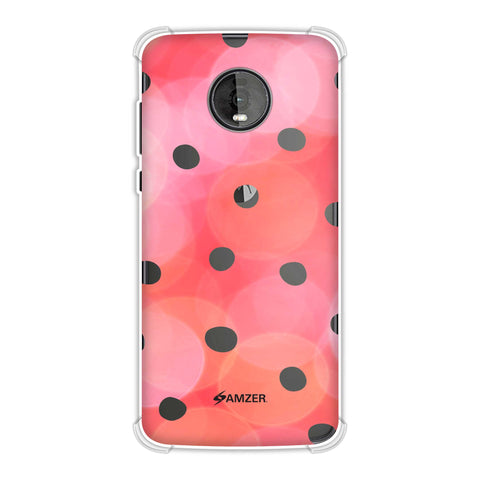 Lady Bug - Red And Black Dots With Starry Effect Soft Flex Tpu Case For Motorola Moto Z4