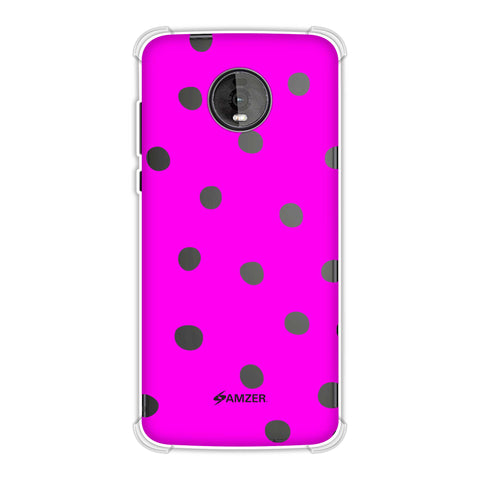 Lady Bug - Hot Pink And White Dots Soft Flex Tpu Case For Motorola Moto Z4