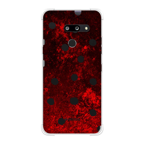 Lady Bug - Black Dots On Lava Plastered Effect Soft Flex Tpu Case For LG G8 ThinQ