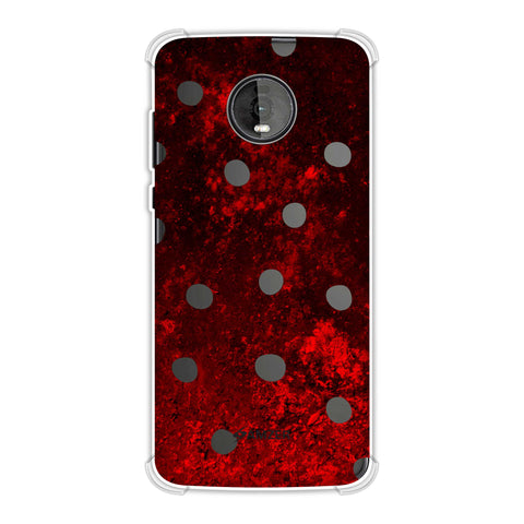 Lady Bug - Black Dots On Lava Plastered Effect Soft Flex Tpu Case For Motorola Moto Z4