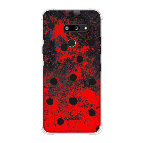 Lady Bug - Black Dots On Grey Lava Plastered Effect Soft Flex Tpu Case For LG G8 ThinQ