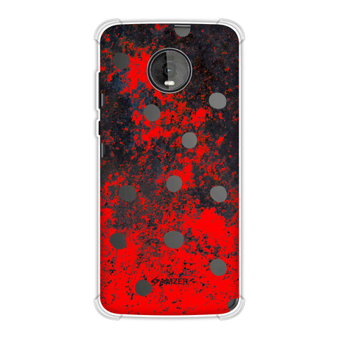 Lady Bug - Black Dots On Grey Lava Plastered Effect Soft Flex Tpu Case For Motorola Moto Z4