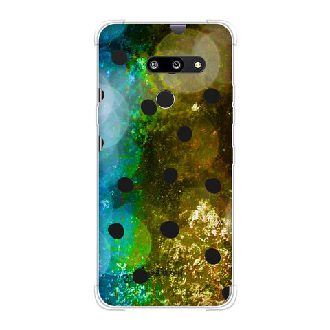 Lady Bug - Black Dots On Blue And Gold Glitter Crushed Starry Lights Soft Flex Tpu Case For LG G8 ThinQ