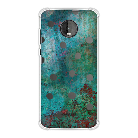 Lady Bug - Black Dots On Green Mold Wood Effect Soft Flex Tpu Case For Motorola Moto Z4
