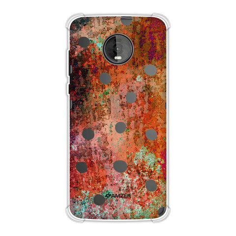 Lady Bug - Black Dots On Rust Mold Wood Effect Soft Flex Tpu Case For Motorola Moto Z4