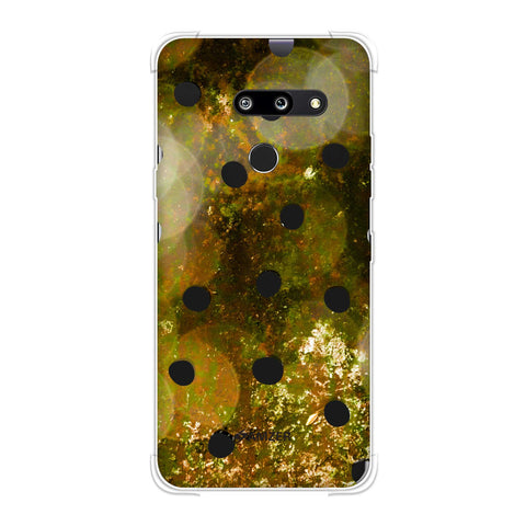Lady Bug - Black Dots On Gold Glitter Crushed Starry Lights Soft Flex Tpu Case For LG G8 ThinQ