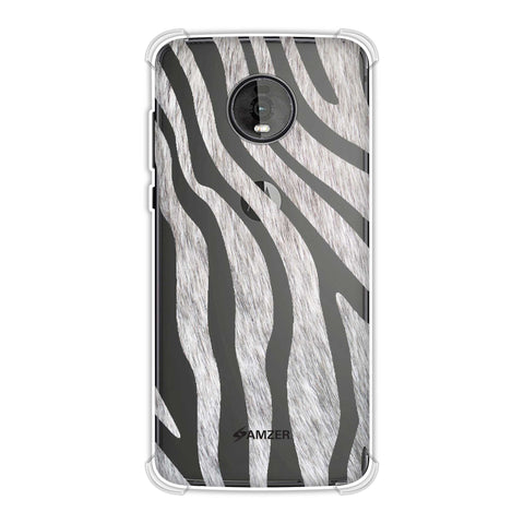 Zebra - Black And White Stripes Hair Effect Soft Flex Tpu Case For Motorola Moto Z4