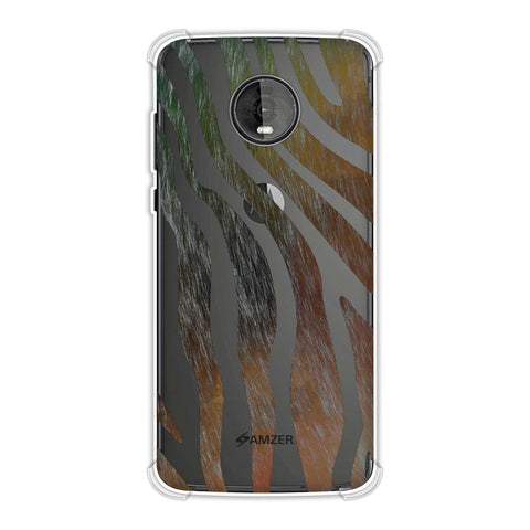 Zebra - Dark Rainbow Stripes Hair Effect Soft Flex Tpu Case For Motorola Moto Z4