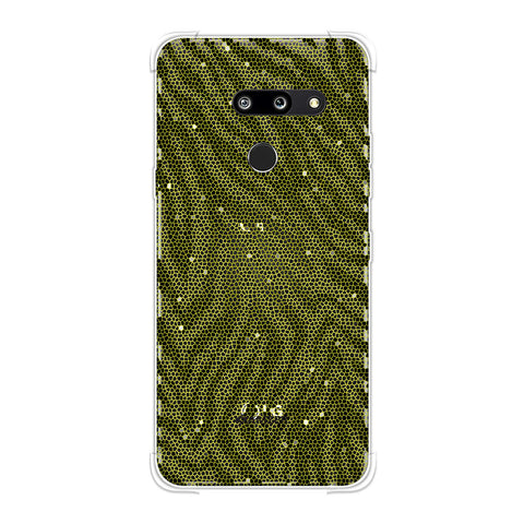 Zebra - Olive And Yellow Hexagon Stripes Hair Effect Soft Flex Tpu Case For LG G8 ThinQ
