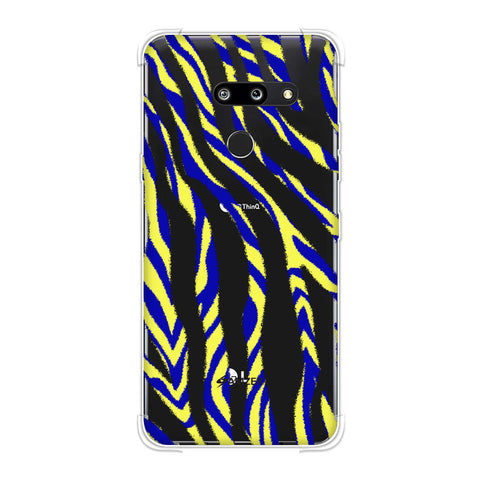 Zebra - Black, Yellow And Blue Stripes Hair Overlap Pattern Soft Flex Tpu Case For LG G8 ThinQ