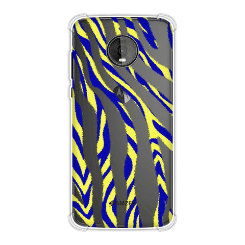 Zebra - Black, Yellow And Blue Stripes Hair Overlap Pattern Soft Flex Tpu Case For Motorola Moto Z4
